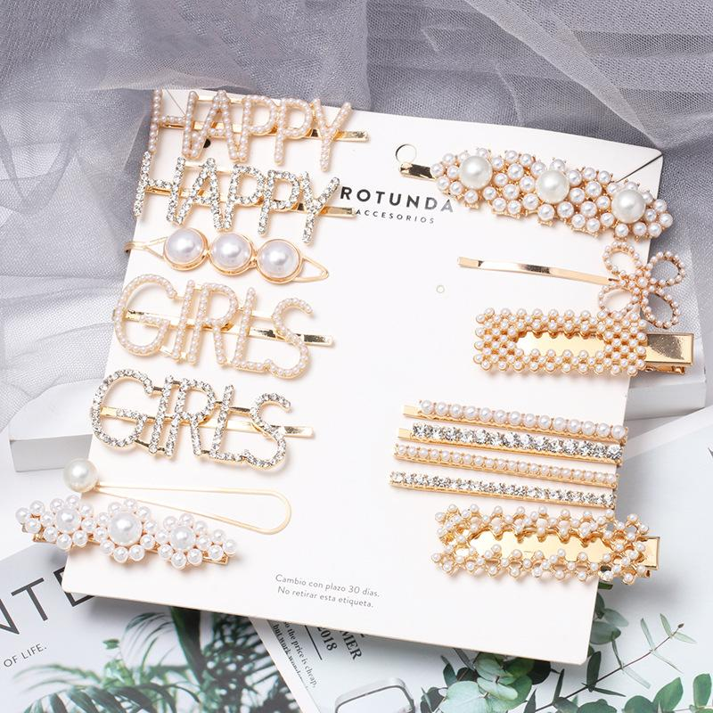 Womens Geometric Beads letras mayúsculas inglesas llenas de diamantes Pinza para el cabello NHJJ121734
