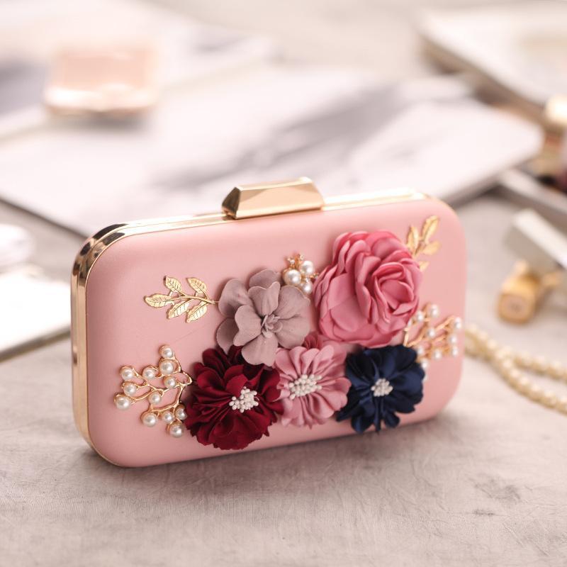 Bolso de noche de concha dura de paquete de flores de rosas de mano europeo y americano NHYG154070