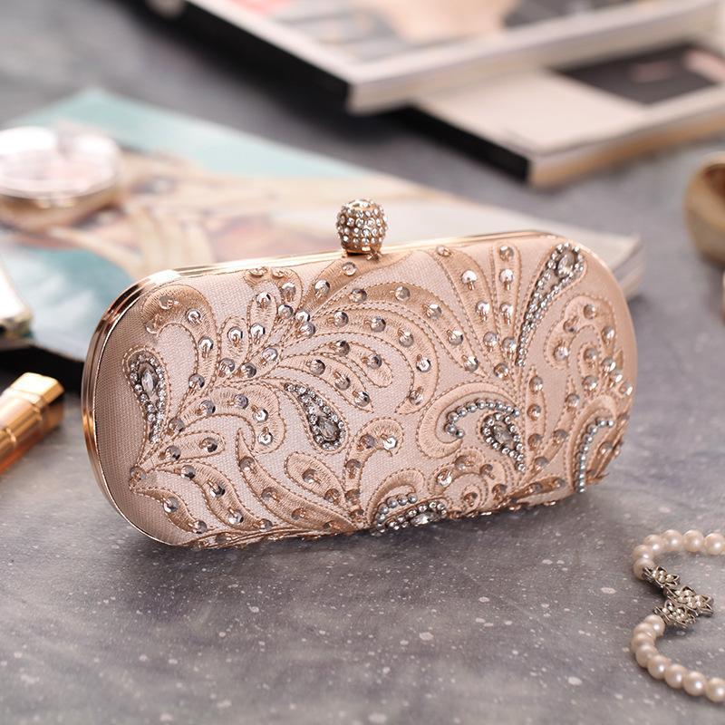Bolso de cena artificial bordado con cuentas de piedras preciosas NHYG154166
