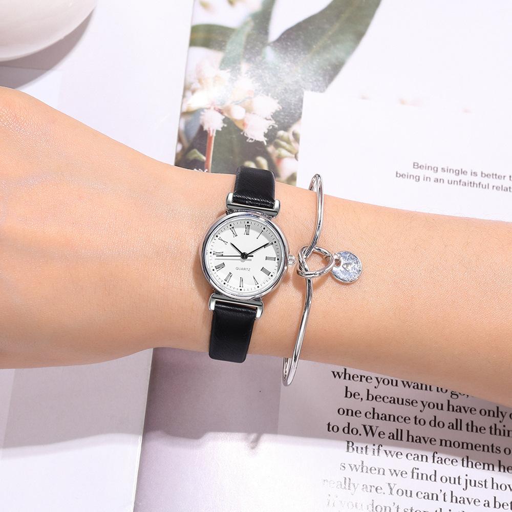 reloj de pulsera casual de escala romana de cinturón fino de moda NHSS305424