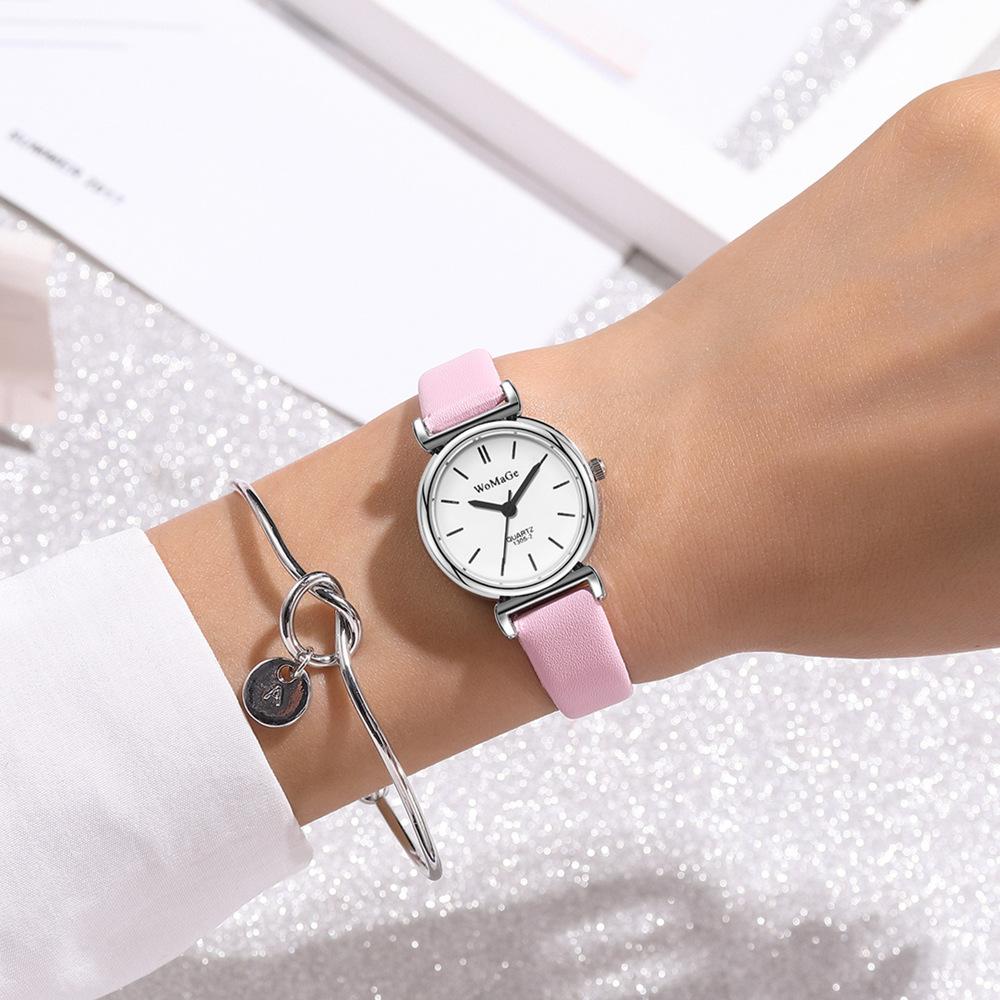 reloj de pulsera casual de cuarzo con cinturón fino de moda NHSS305425