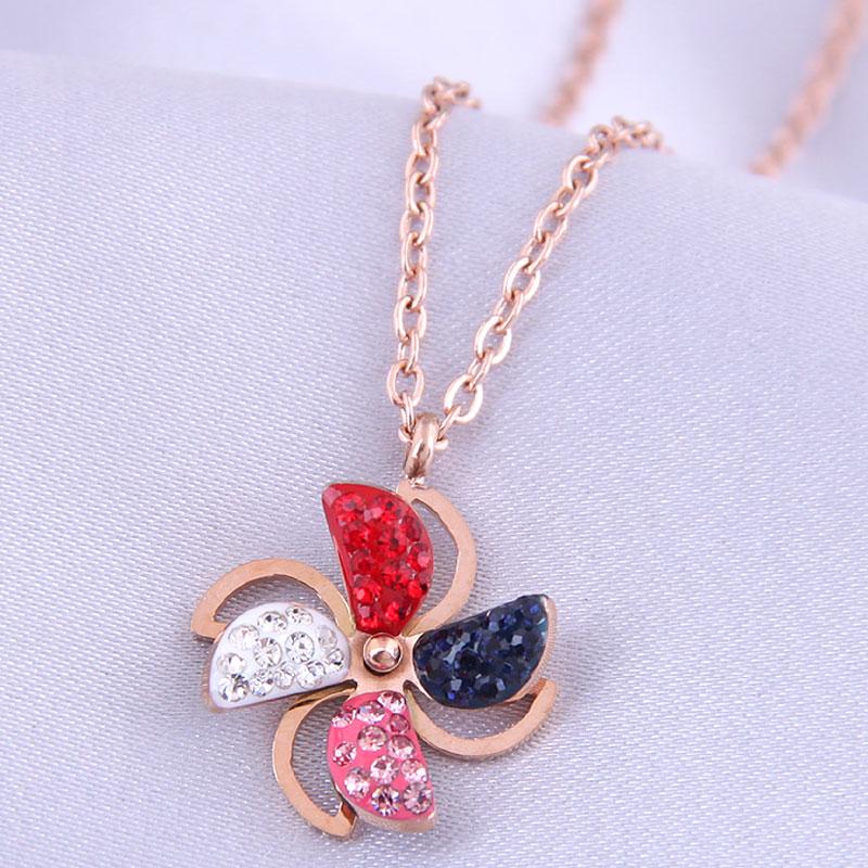 Collar de acero de titanio de molino de viento de diamantes de moda coreana NHSC315444