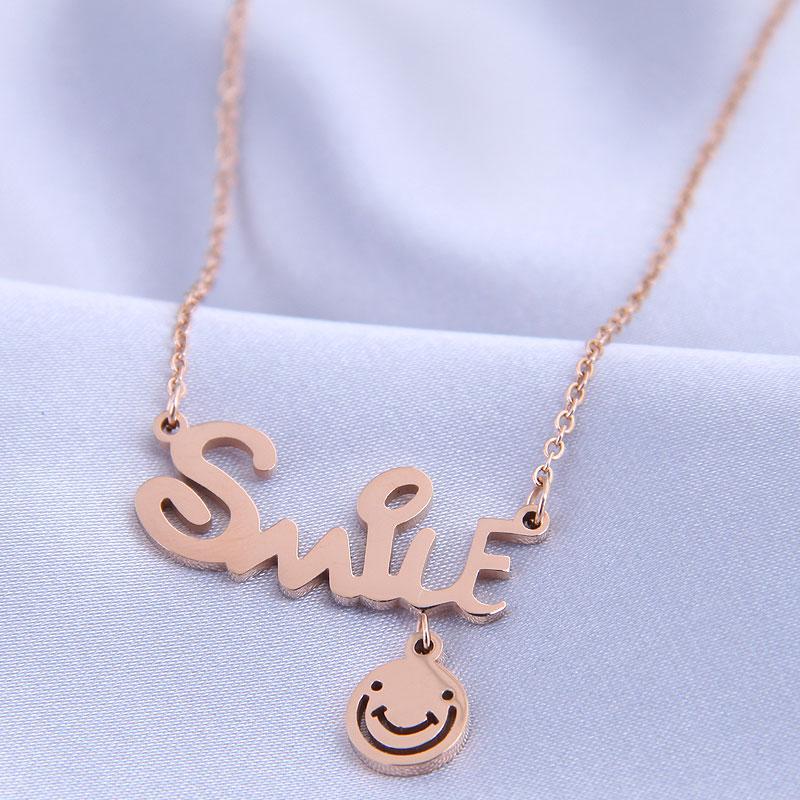 collar de smiley de letra OL de acero titanio de moda NHSC315447