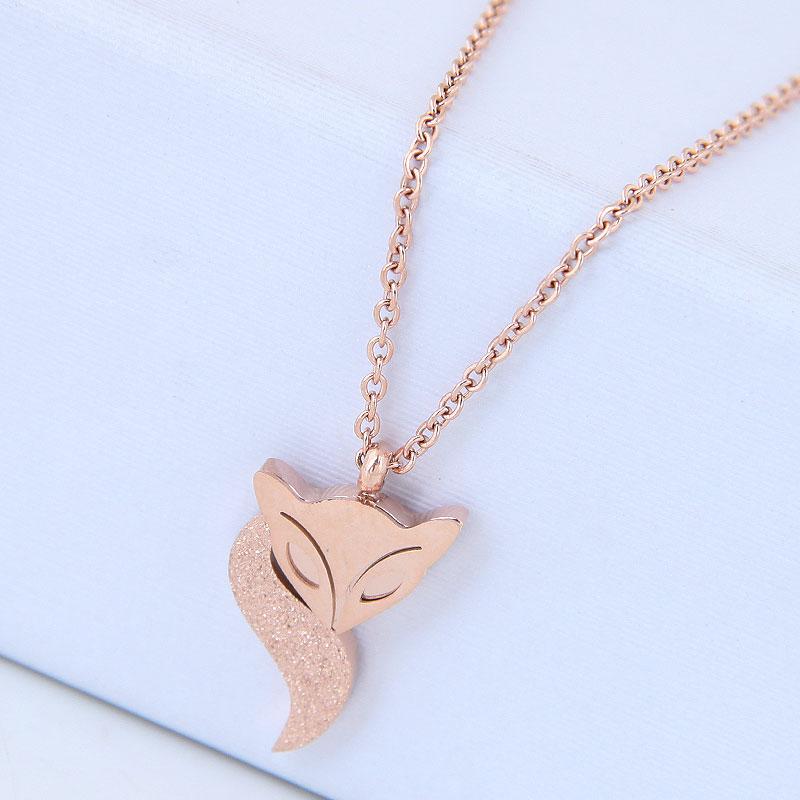 Collar de zorro OL de acero titanio de moda coreana NHSC315455