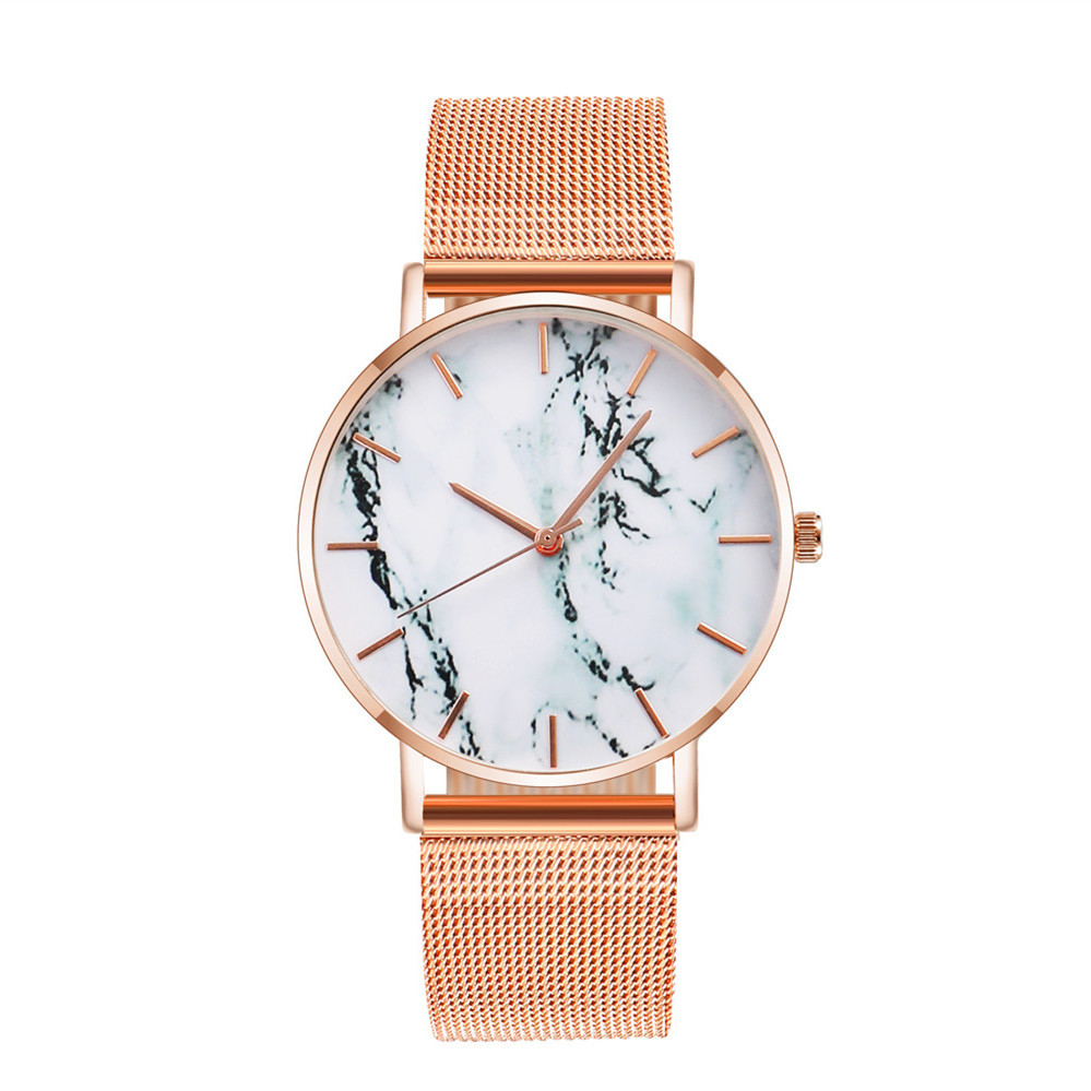 Reloj de correa de malla de cuarzo de mármol de moda NHSR315859