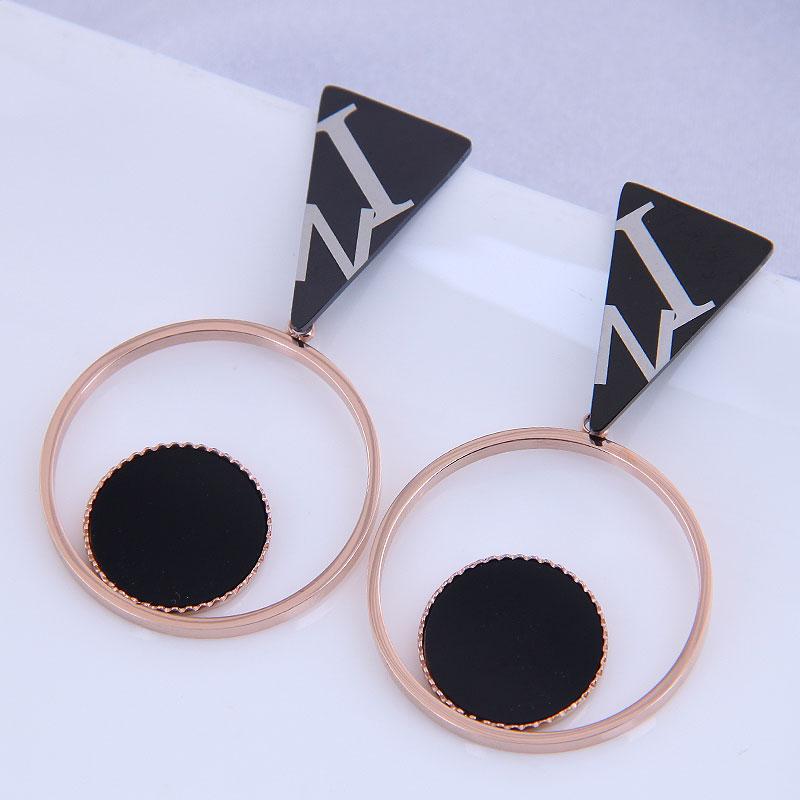 Pendientes simples salvajes de acero de titanio de moda coreana NHSC316255