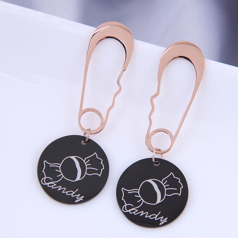 Pendientes simples salvajes de acero de titanio OL de moda coreana NHSC316254