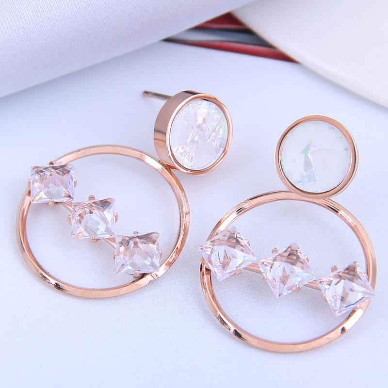 Pendientes simples de acero de titanio OL dulce de moda coreana NHSC316248