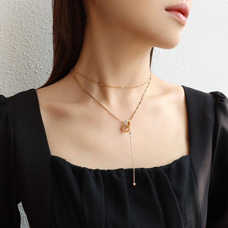 moda simple collar de doble capa NHOK317144