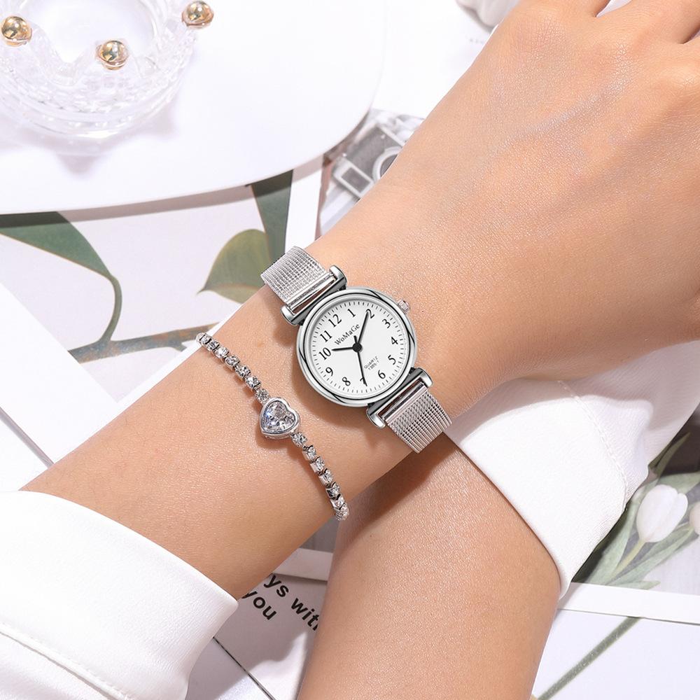 reloj de cuarzo con banda de malla de aleación de moda NHSY317694