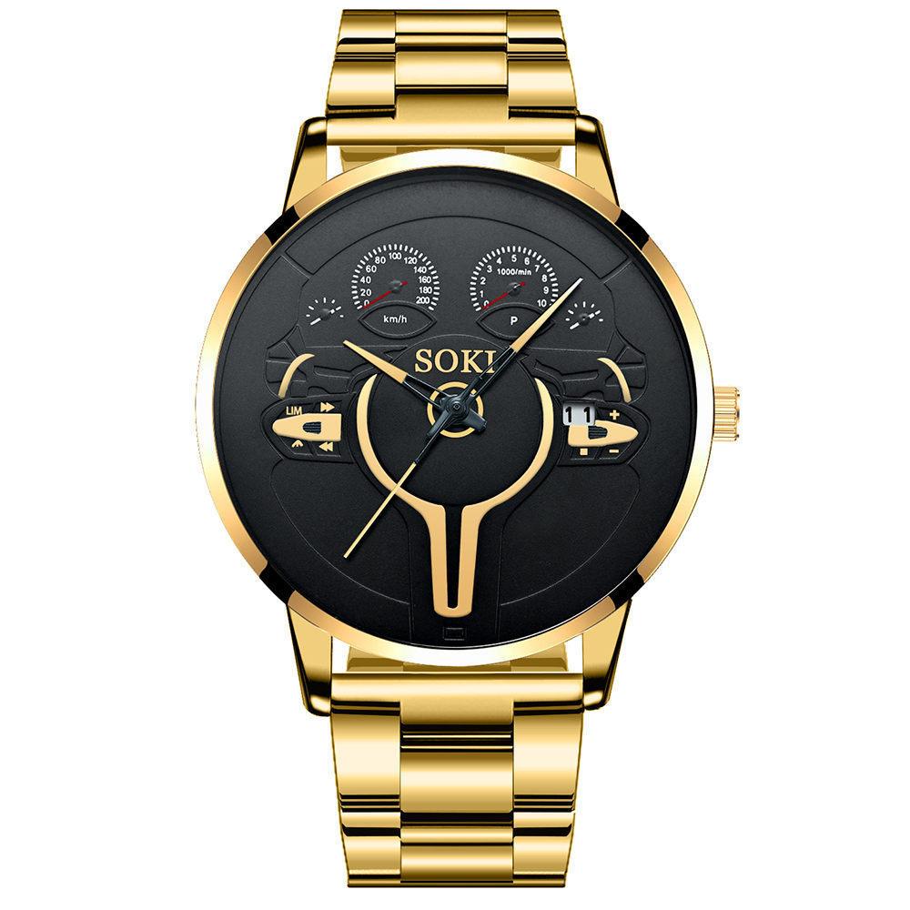 Reloj con correa de acero con esfera grande NHSY317701