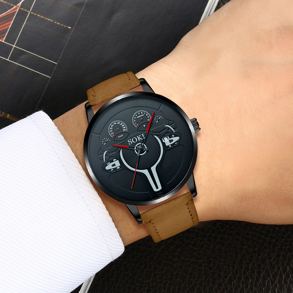 reloj de cuarzo con cinturón de pu de moda NHSY317704