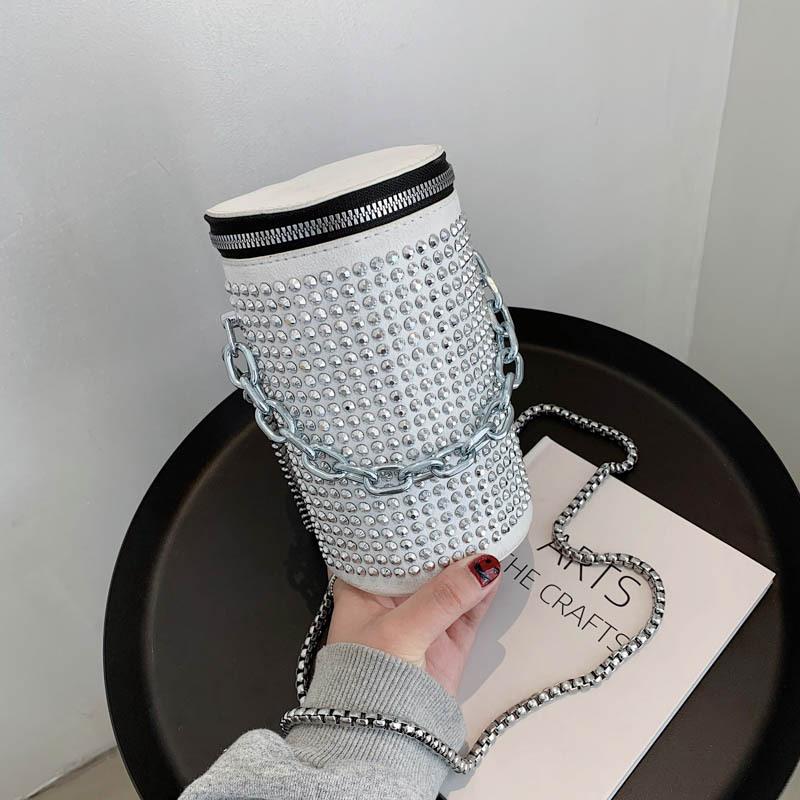 bolso de cubo cilíndrico de diamantes de imitación de moda NHJZ337575