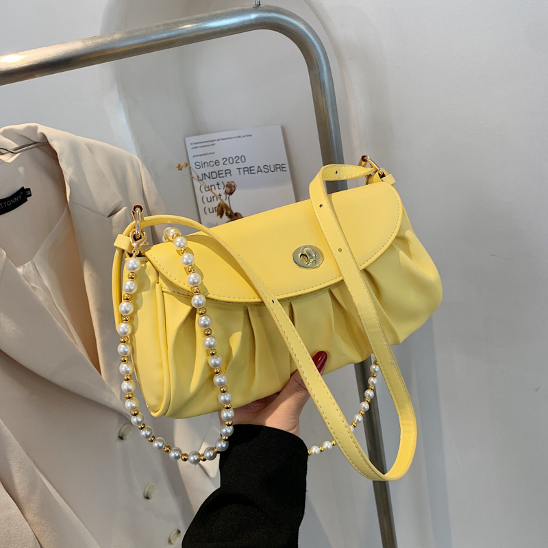 bolso de mensajero de un solo hombro con perlas y pliegues de moda NHJZ339227