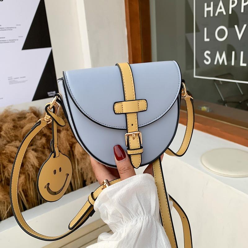 bolsa de sillín smiley de color en contraste de moda NHJZ339237