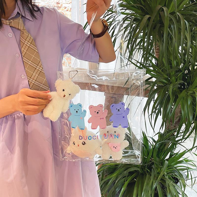 wholesale bolso de hombro transparente de oso de impresión en color de dibujos animados  NHTG388404