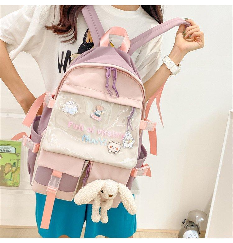 wholesale lindo oso muñeca colgante color de contraste transparente mochila de gran capacidad  NHTG388429