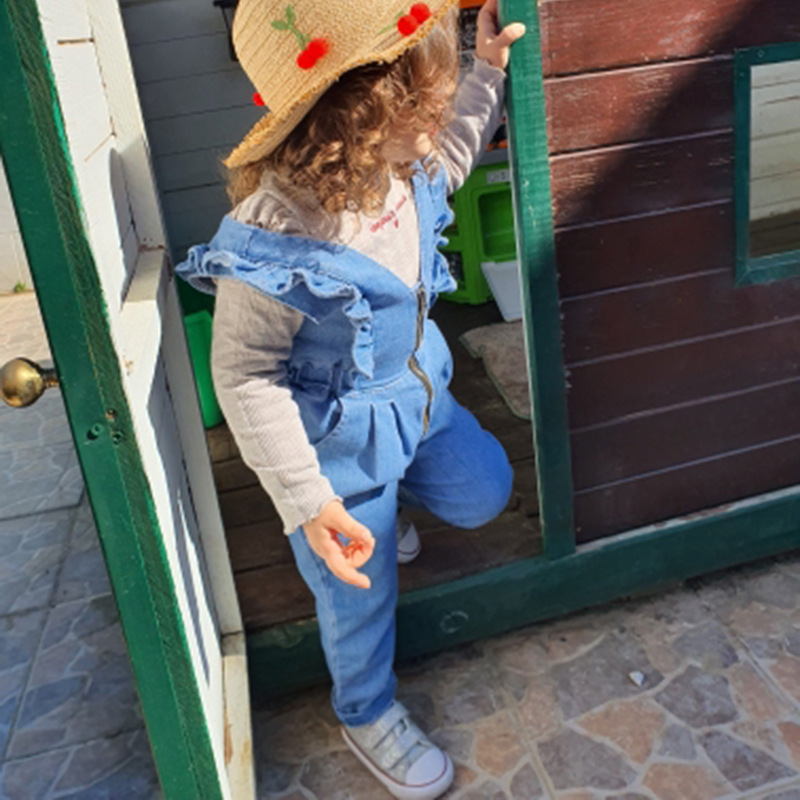 Mono de mezclilla al por mayor para niños con volantes pantalones sueltos ropa de bebé 80cm-130cm NHWU388832