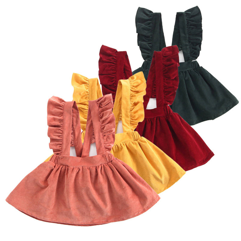 Venta al por mayor de ropa de bebé Vestido corto de niña con volantes de color sólido 80cm-130cm NHWU388831