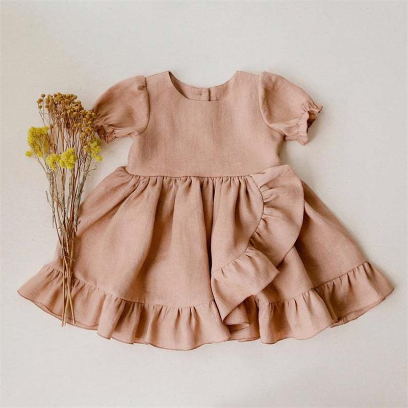 Vestido de manga corta de lino de algodón para niñas al por mayor vestido de princesa de onda grande de encaje para niños 80cm-130cm NHWU388829