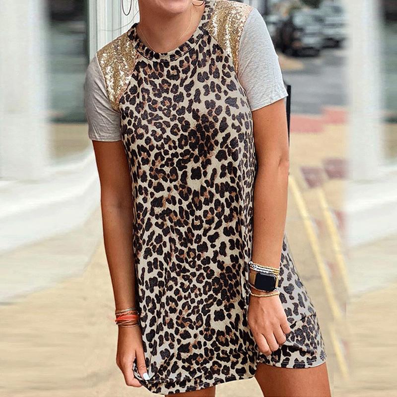 Vestido de lentejuelas de cuello redondo de costura con estampado de leopardo de moda de verano al por mayor para mujer NHWA388821