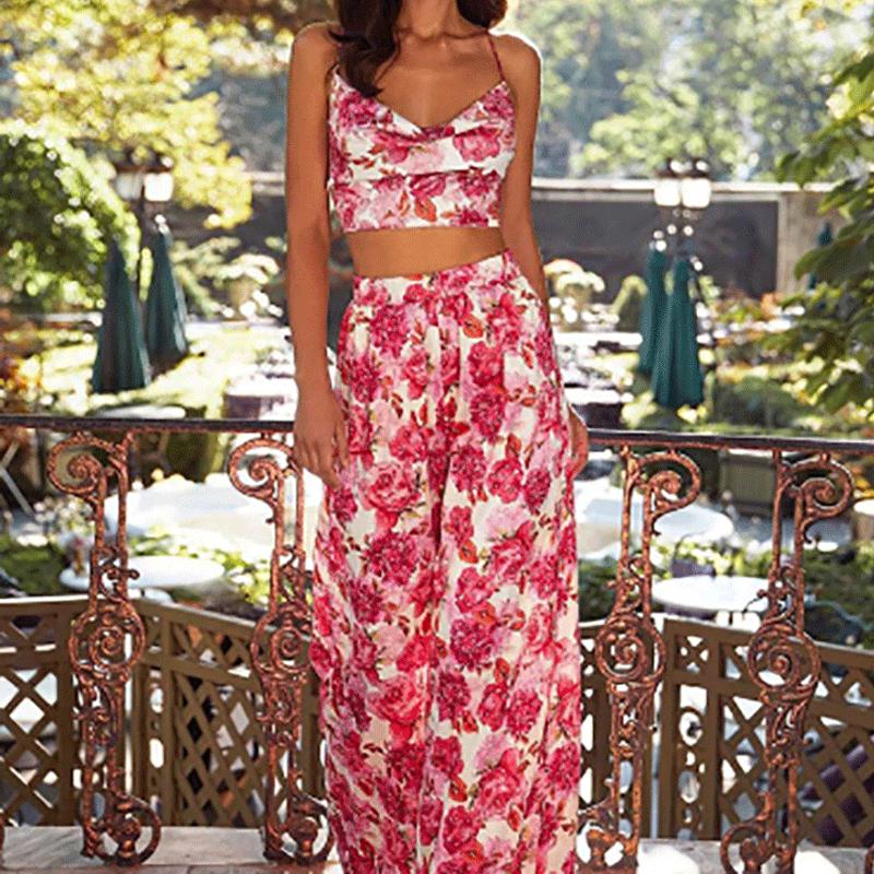 Conjunto de pantalones holgados anchos con estampado de moda de verano para mujer al por mayor con espalda abierta NHWA388820
