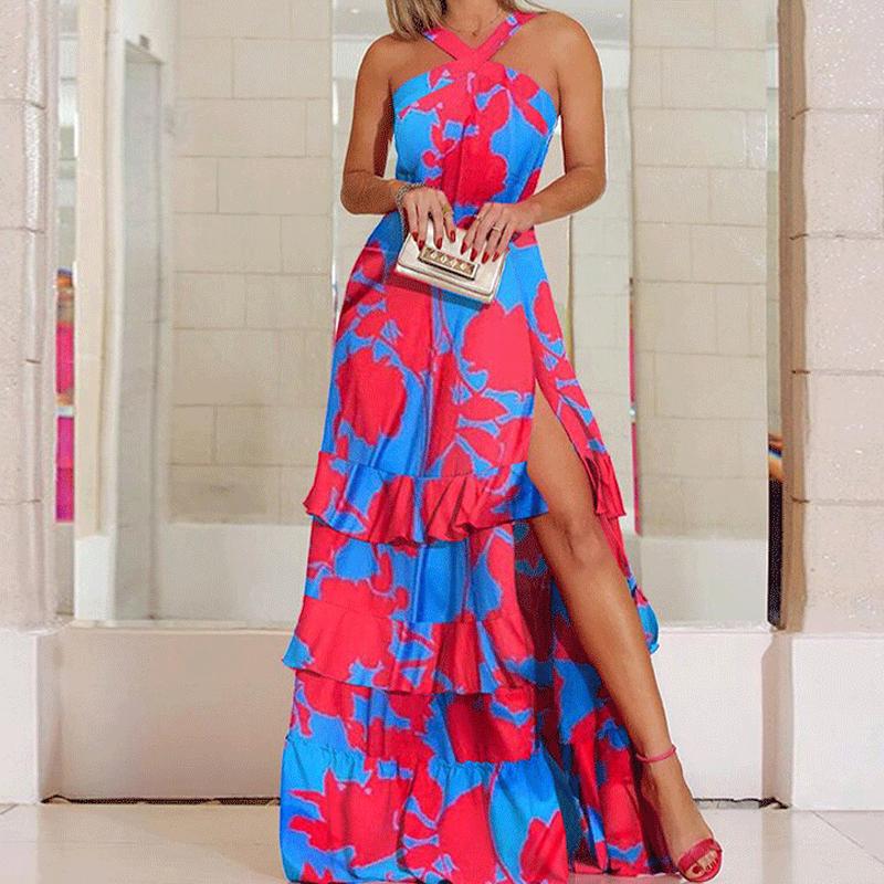 Vestido de hendidura sin mangas con cuello en V impreso de moda de verano de las mujeres al por mayor NHWA388815