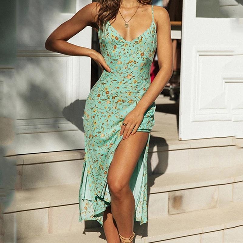 Vestido delgado de la raja del halter del v-cuello de la honda atractiva de las mujeres al por mayor del verano NHWA393516