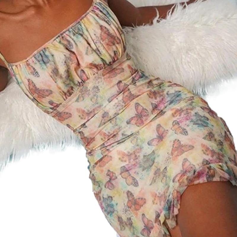 Vestido floral con hombros descubiertos y volantes de mujer al por mayor NHWA393525
