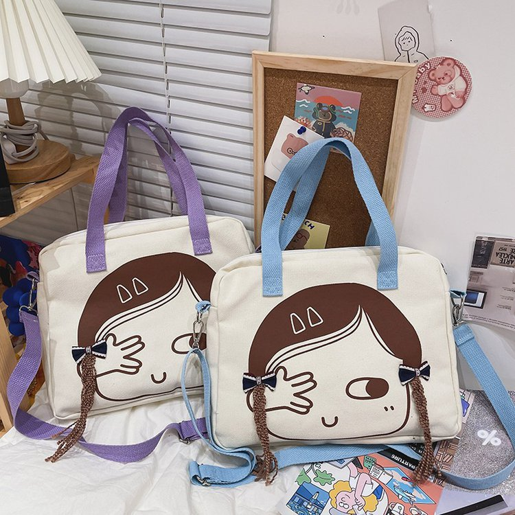 wholesale bolso de lona de mensajero de un solo hombro con estampado de niña linda  NHTG388400