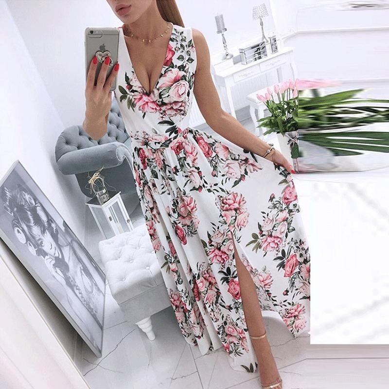 Al por mayor vestido floral sin mangas con cuello en v estampado de gasa NHWA393534