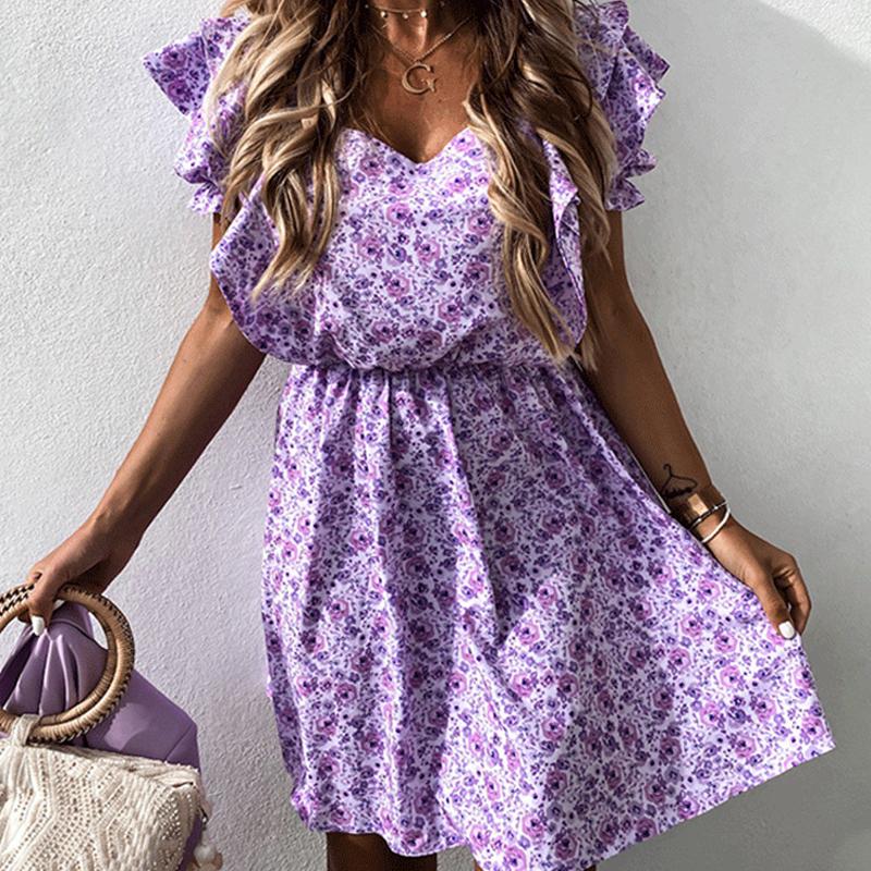 Vestido púrpura corto con mangas de linterna impresa al por mayor NHWA393531