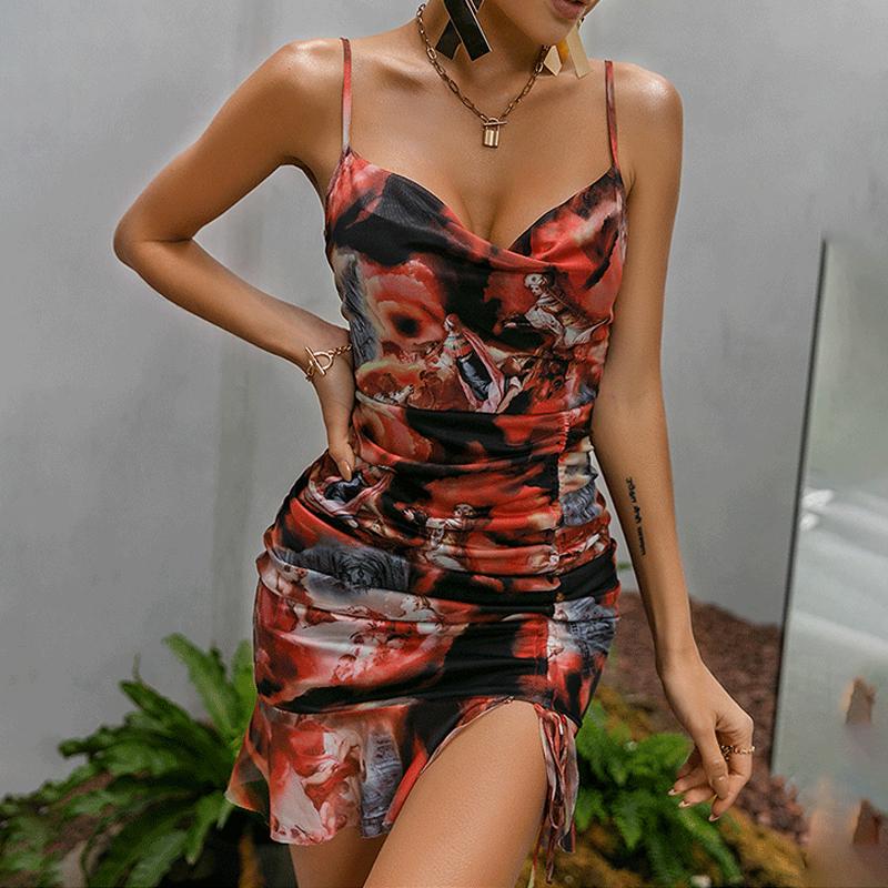 Vestido de tirantes con estampado de honda de verano al por mayor para mujer NHWA388823