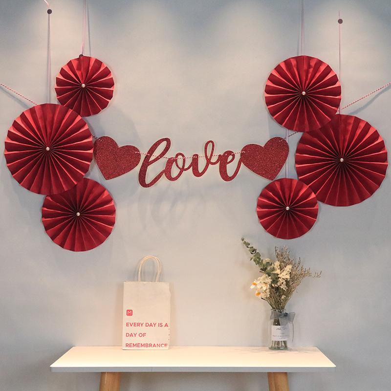 wholesale Perla blanca abanico de flores de papel rojo sala de bodas fondo decoración de la pared  NHAH389960