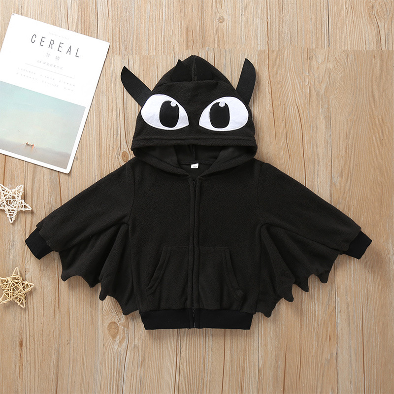 Chaqueta de manga larga con capucha de murciélago negro con capucha para niños de Halloween al por mayor  NHLF390137