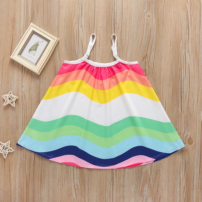 vestido de tirantes para niños de longitud media sin mangas de color arco iris suelto al por mayor  NHLF390140