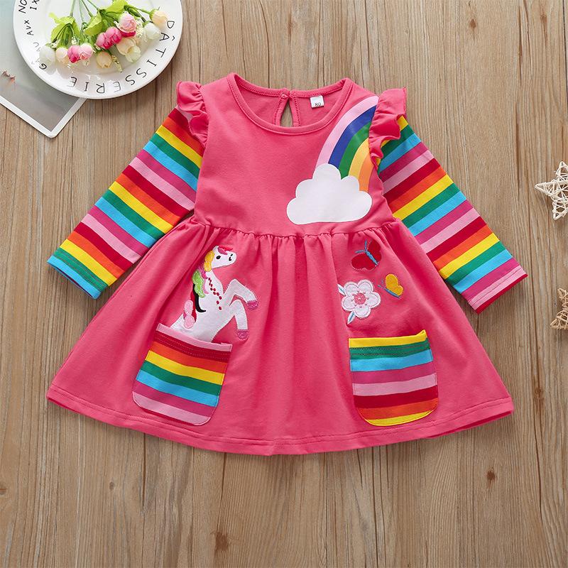 vestido de manga larga arco iris casual para niños al por mayor  NHLF390143