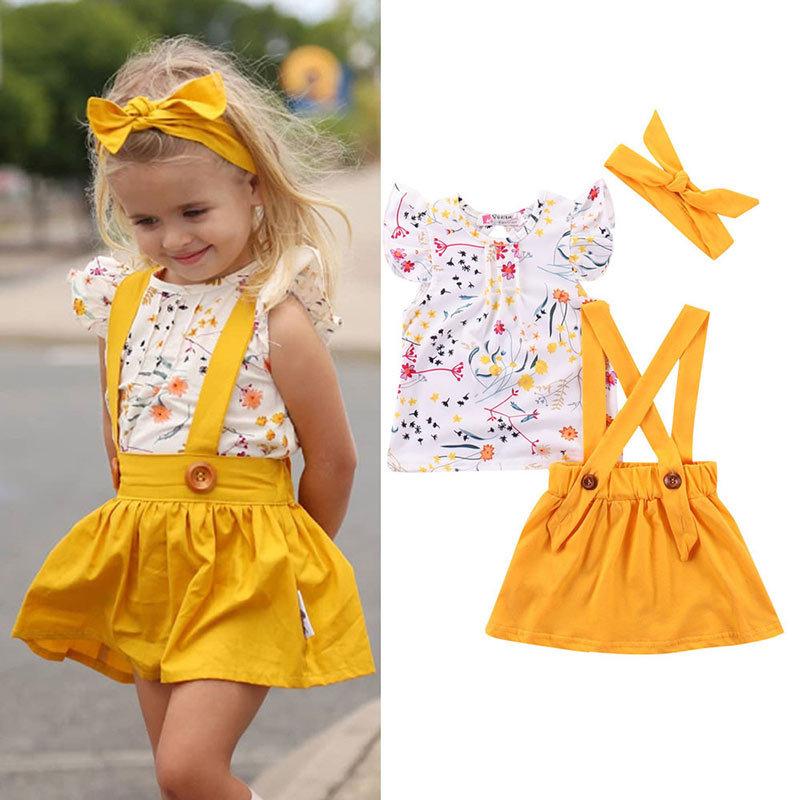 wholesale niños imprimiendo falda de flores traje de tres piezas  NHLF390149