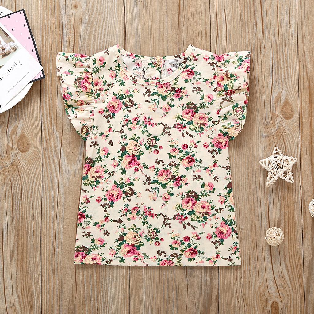 wholesale blusa de cuello redondo infantil con mangas voladoras florales  NHLF390150