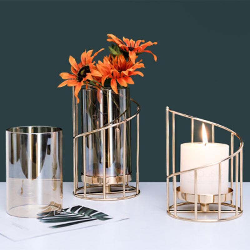 Adornos de candelabro de flores de hierro forjado al por mayor  NHAW390369