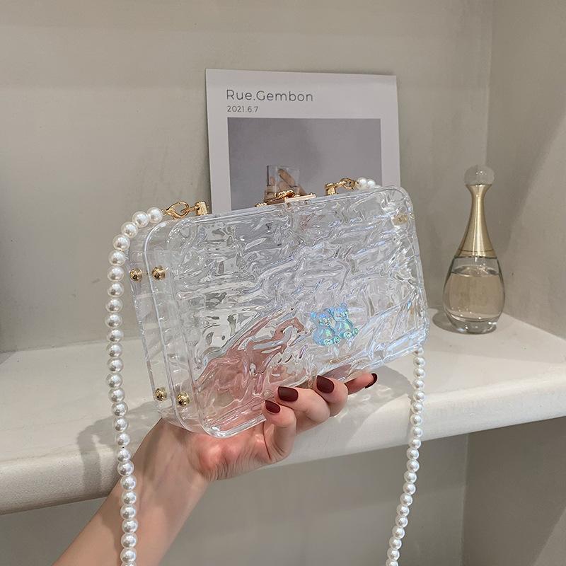 Al por mayor cadena de perlas bolsa de mensajero transparente de un solo hombro  NHLH390441