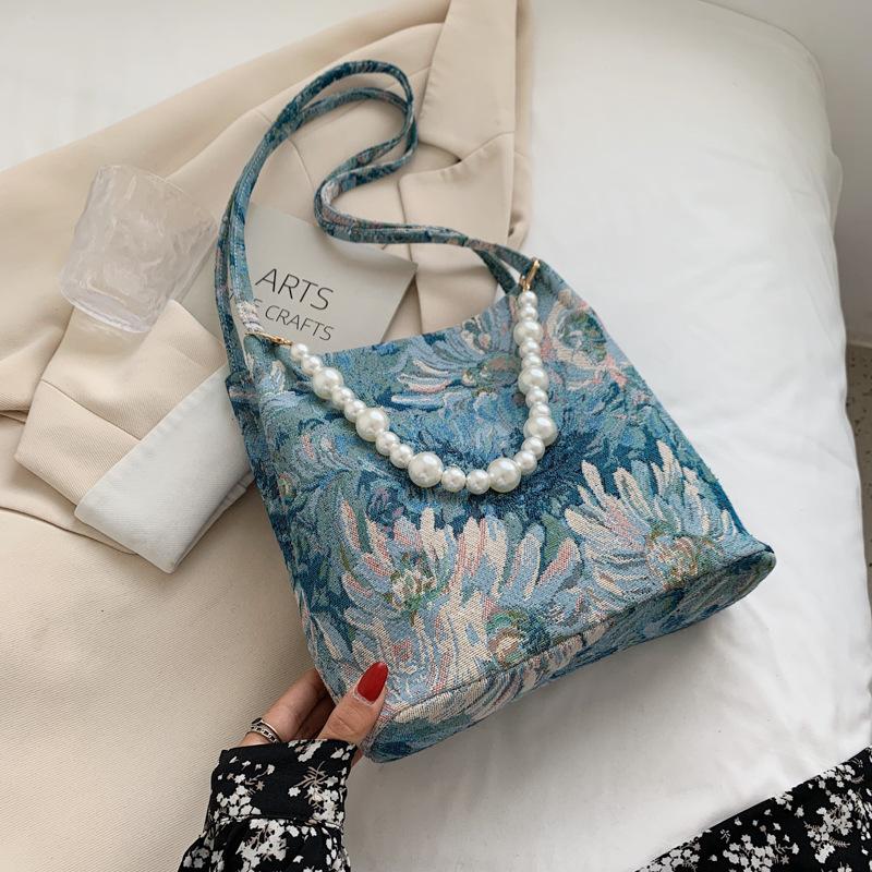 Al por mayor cadena de perlas pintura patrón de flores bolso de mensajero  NHLH390468