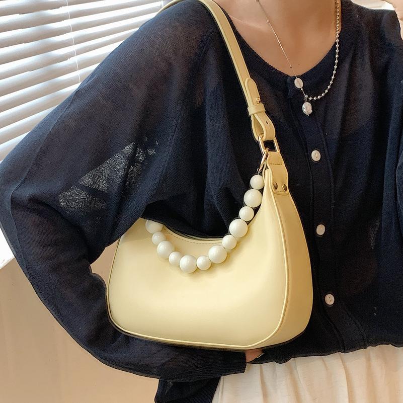 Al por mayor bolso de axila de un solo hombro con cadena de perlas de color sólido  NHLH390499