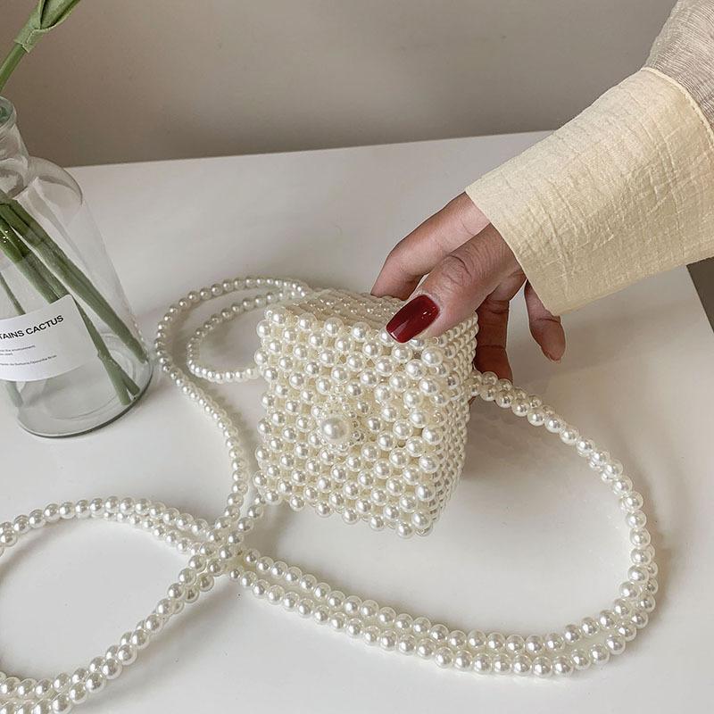 Al por mayor bolso diagonal de cadena doble trenzada de perlas  NHGA390532