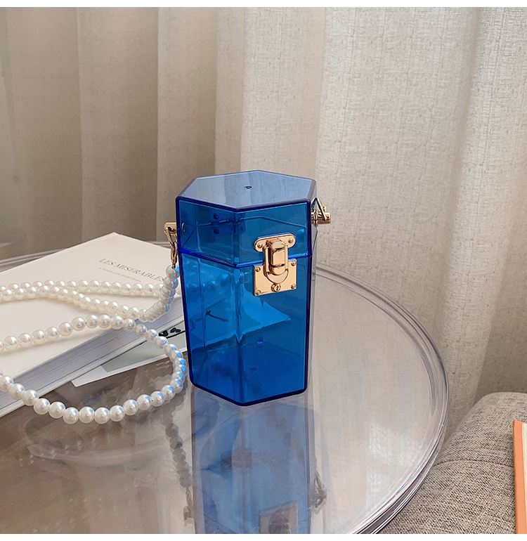 Al por mayor bolsa de caja de mensajero portátil de cadena de perlas transparente  NHLH390442