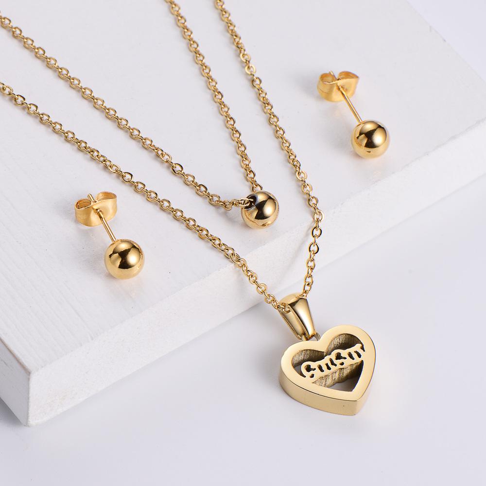 Collar colgante en forma de corazón hueco, perlas brillantes, conjuntos de pendientes al por mayor,  NHON391948