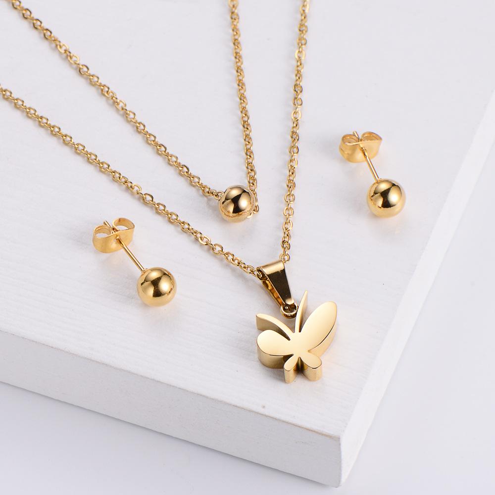 Pendientes de cuentas redondas de acero de titanio conjunto de collar colgante de mariposa de doble cadena al por mayor  NHON391951