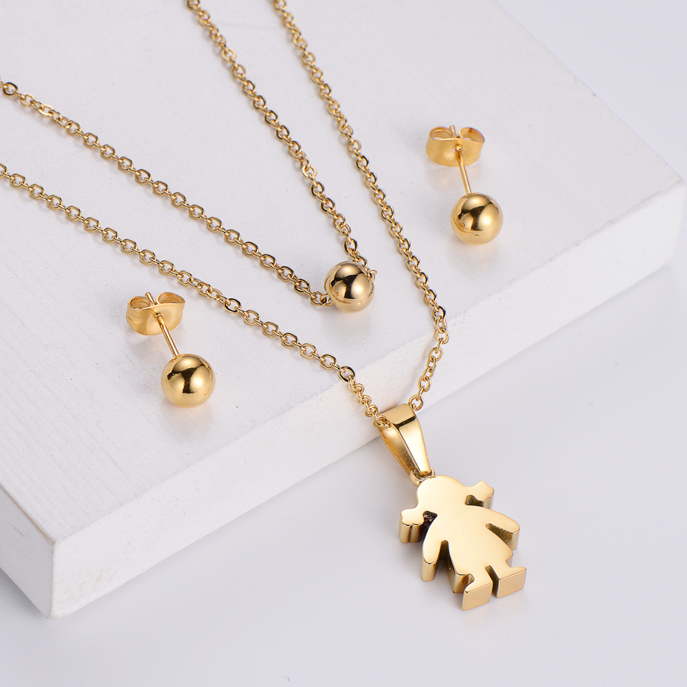 wholesale joyas pendientes de cuentas brillantes conjuntos de collar colgante de niña de dibujos animados  NHON391952
