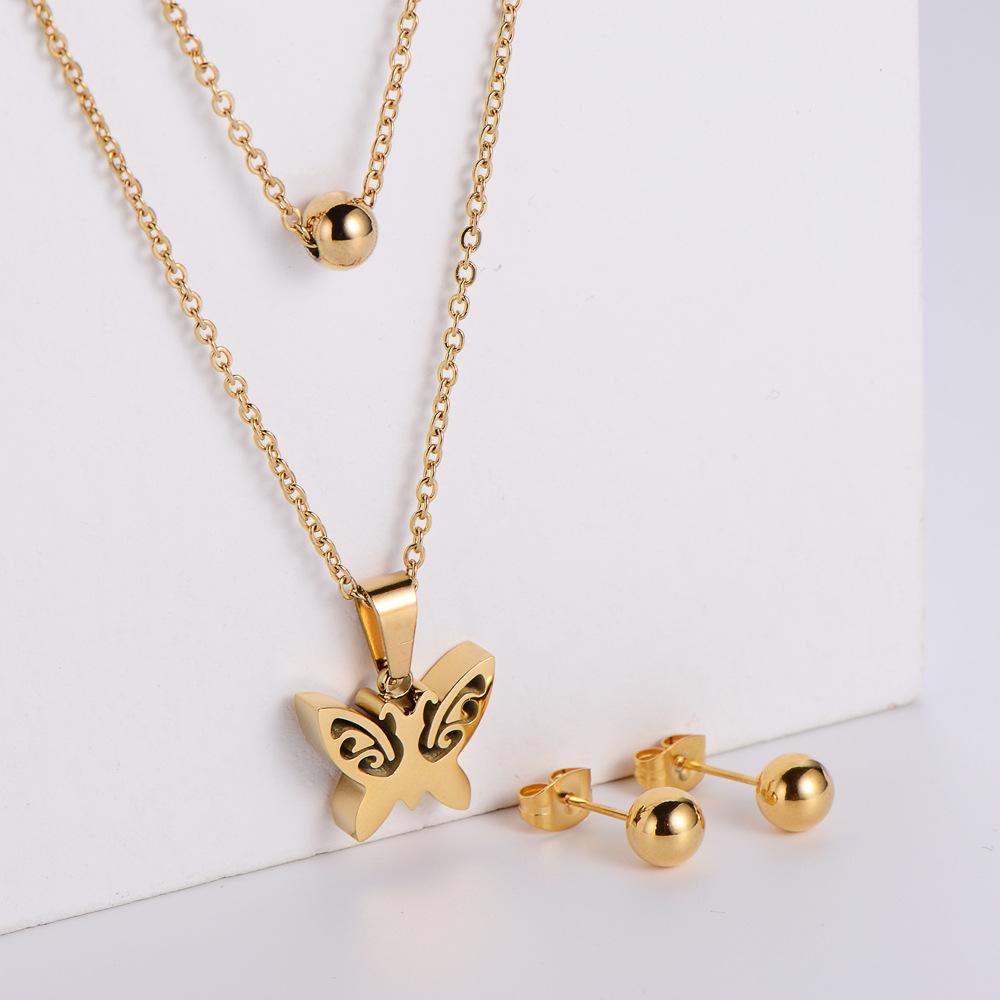 Pendientes de cuentas redondas de acero de titanio Conjuntos de collar con colgante de mariposa hueca de doble cadena al por mayor  NHON391953