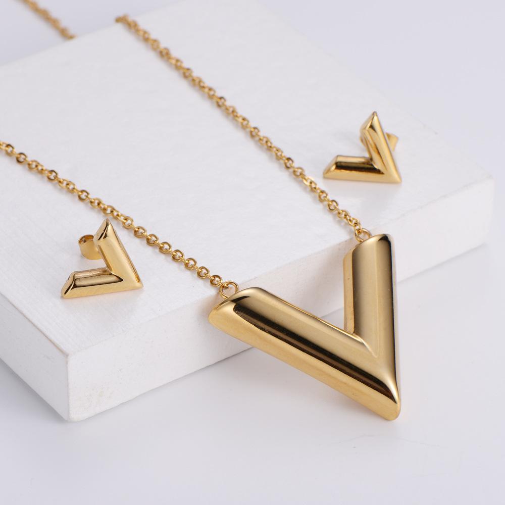 Conjuntos de pendientes de collar colgante en forma de V de acero de titanio al por mayor  NHON391957